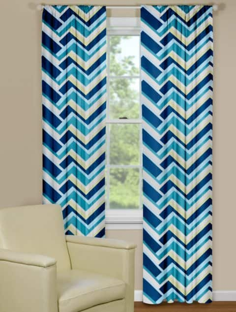 Chevron curtain panels with light colors