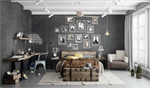 Bedroomw ith industrial interior design