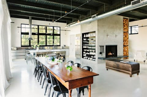 Industrial interior design for dining room