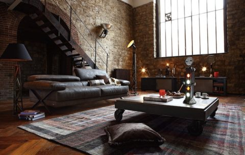 Industrial interior design for living room