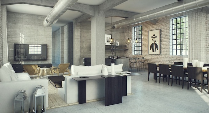 Modern industrial interior design