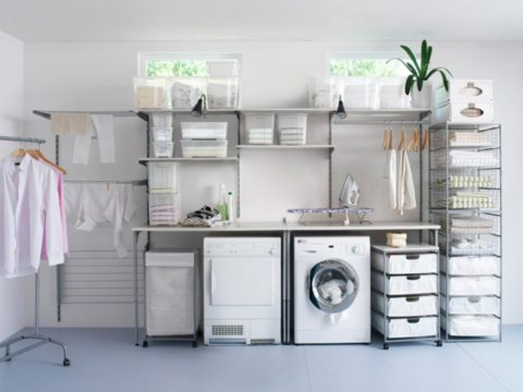 Off white laundry room theme