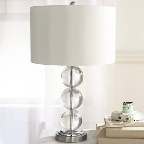 Table lamps with glass and steel base