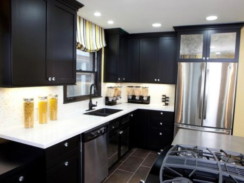 Black cabinetry for small room