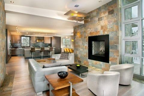 Contemporary living room with colorful wall