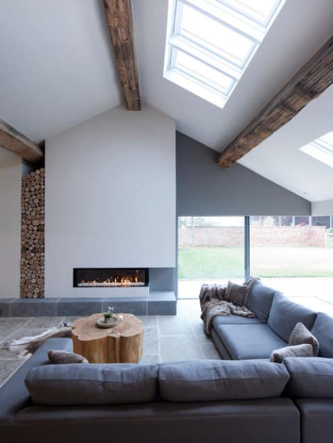 Contemporary living room with glass roof