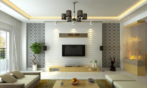 Contemporary living room with elegant wallpaper