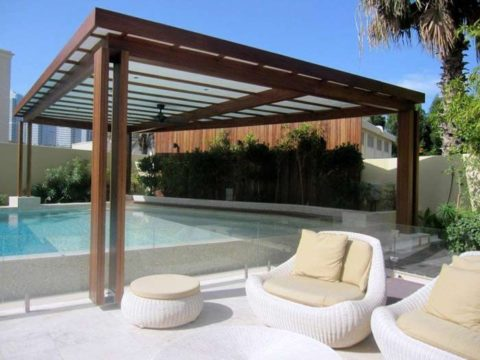 Small sitting pool with pergola