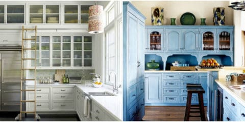 Colorful kitchen cabinets design