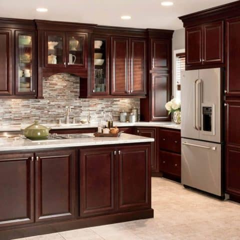 Kitchen cabinets with marble surface
