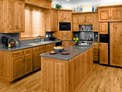 Wooden color kitchen cabinets