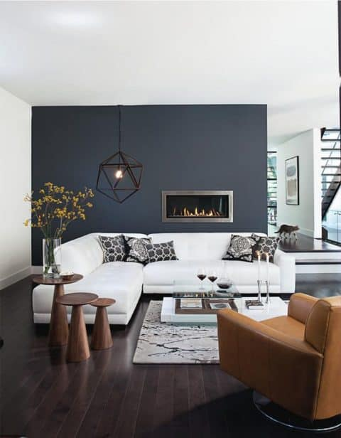 Modern living room for narrow space