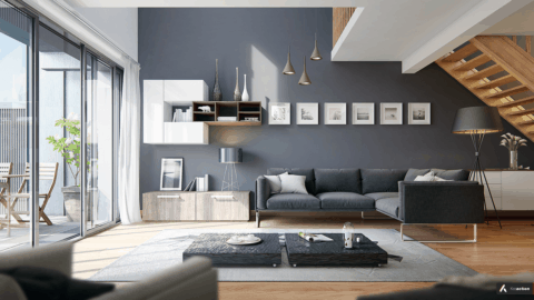 Modern living room in gray theme