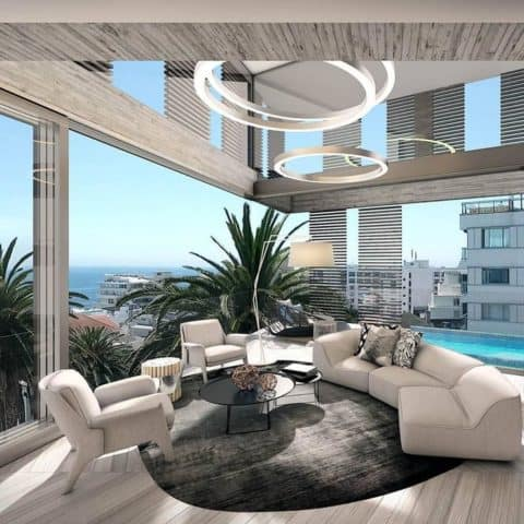 Modern living room with unique lighting