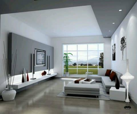White modern living room with gray interior