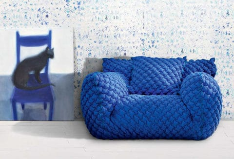 Blue knitted furniture