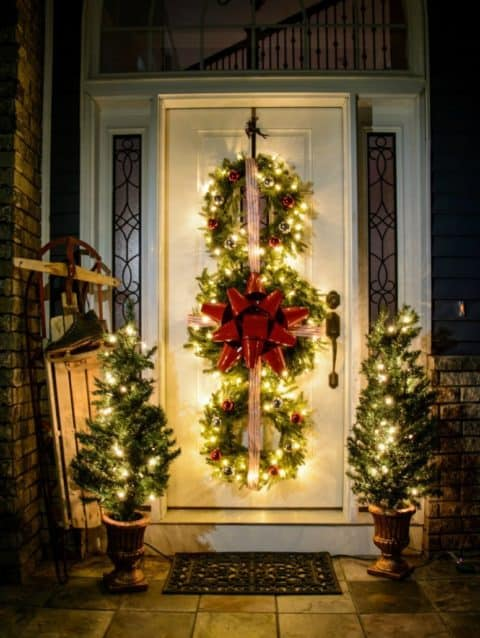 Christmas decorations full light door