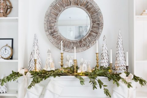 Christmas mantel ideas with candle