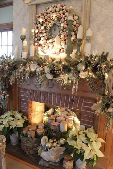 Christmas mantel ideas with varied flowers