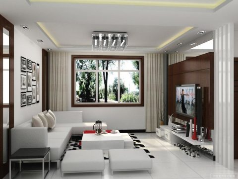 White living room interior design