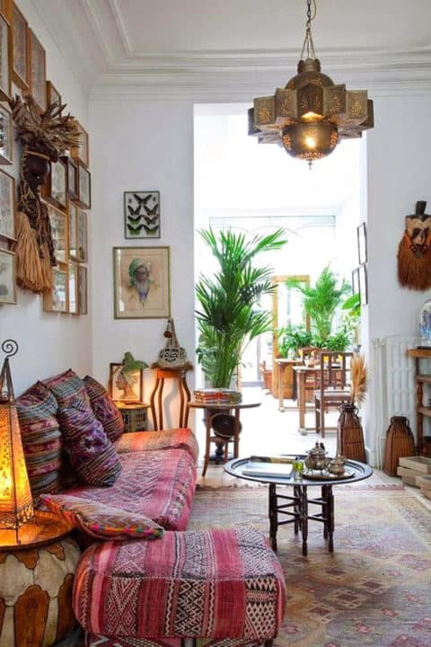 Boho home with ethnic lighting