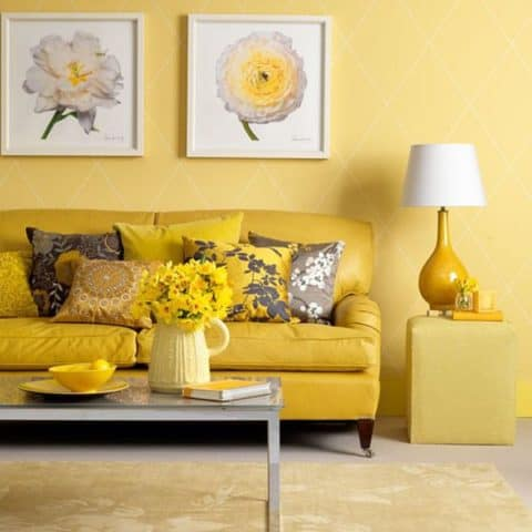 Elegant yellow living room