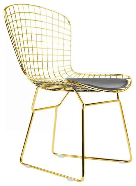 Golden wire dining chairs