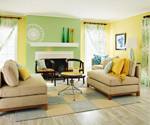 Green yellow living room