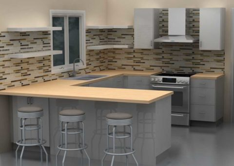 Grey kitchen with a mini bar