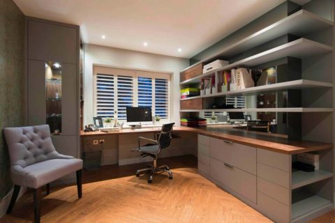 Home office for wide space