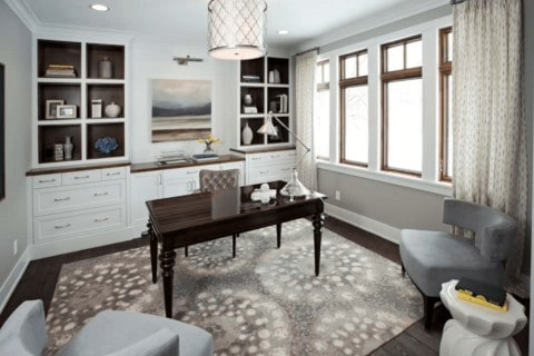 Home office with unique rugs