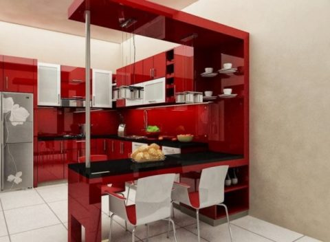 Kitchen with a mini bar red