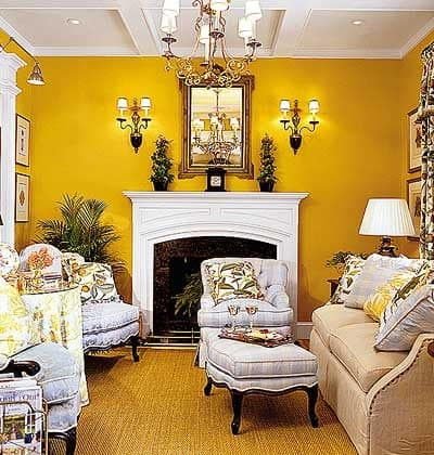 Moroccan yellow living room