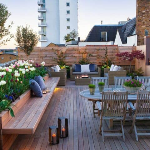 Rooftop deck ideas with garden