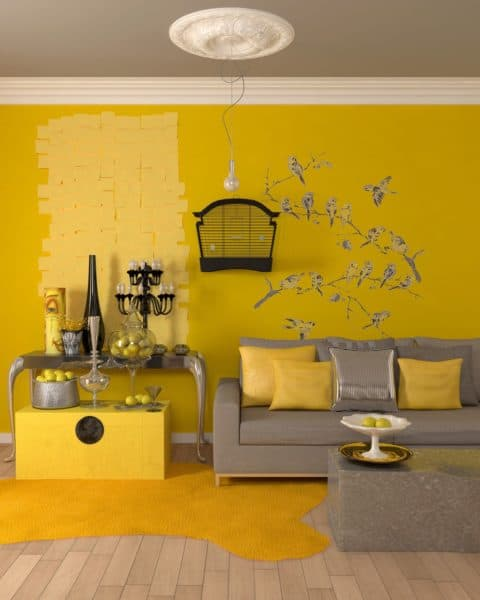 Rustic yellow living room ideas