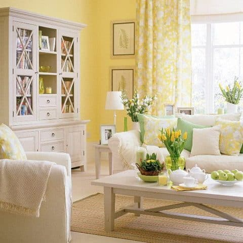 Soft yellow living room ideas