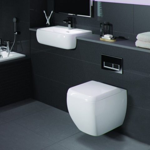 Square wall mounted toilet