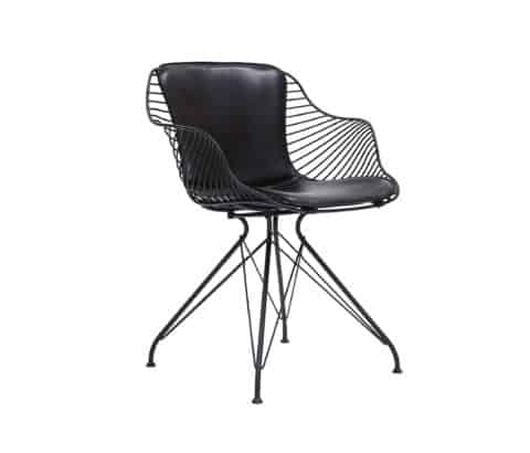 Stylish black wire dining chairs