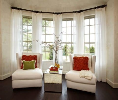 White curtain for bay window