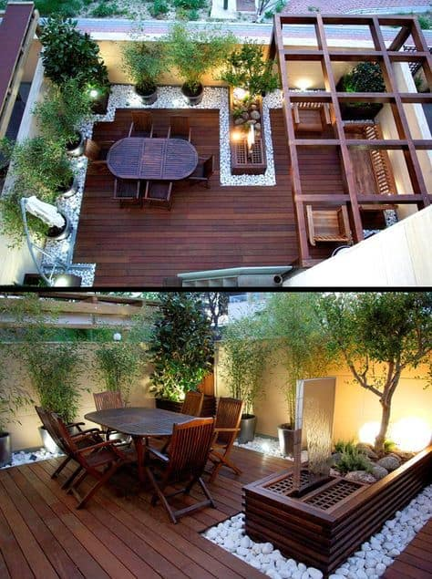 Wooden rooftop deck ideas