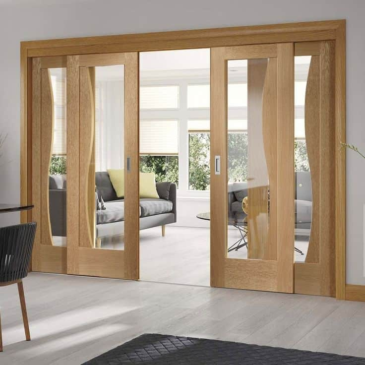 Sliding Doors Of Glass: 20 Latest Wooden Sliding Doors For Living Room