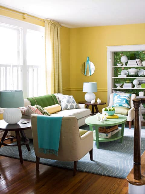 Yellow living room for small area