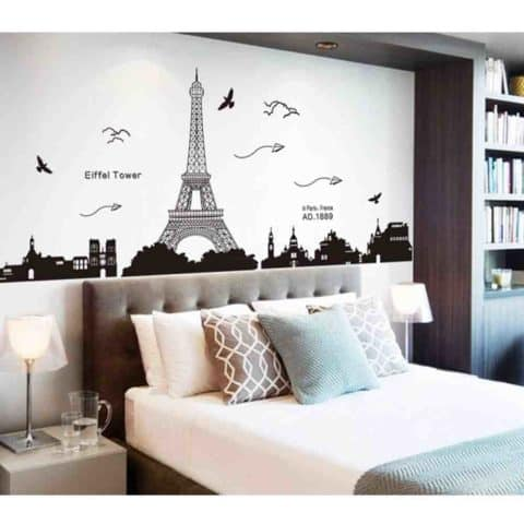 Bedroom wall decor with eifel tower