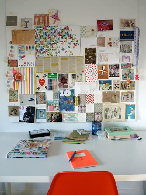 Pinboard ideas with white frame