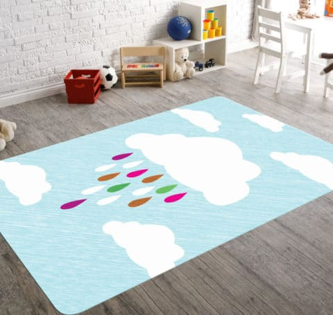 Raining sky rugs for kids rooms
