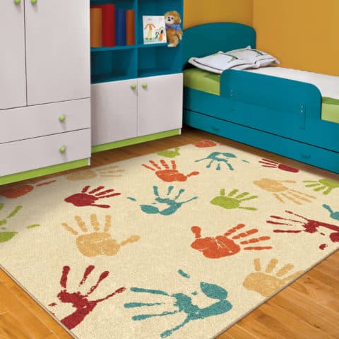 Rugs for kids rooms with hand print