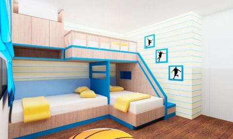 Bunk beds for kids wide room