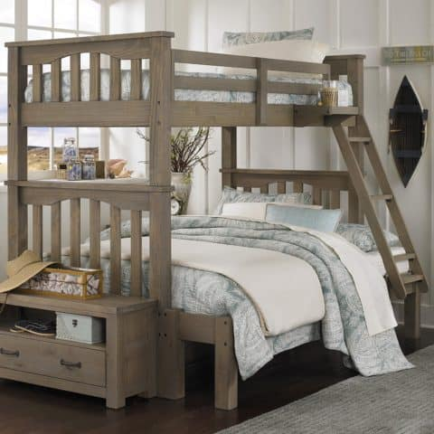Twin over full bunk bed on walnut