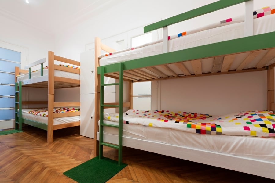 Bunk beds in hostel room