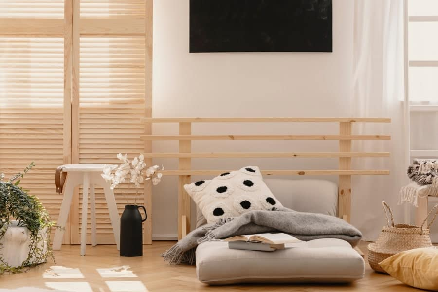 Futon bed in bedroom